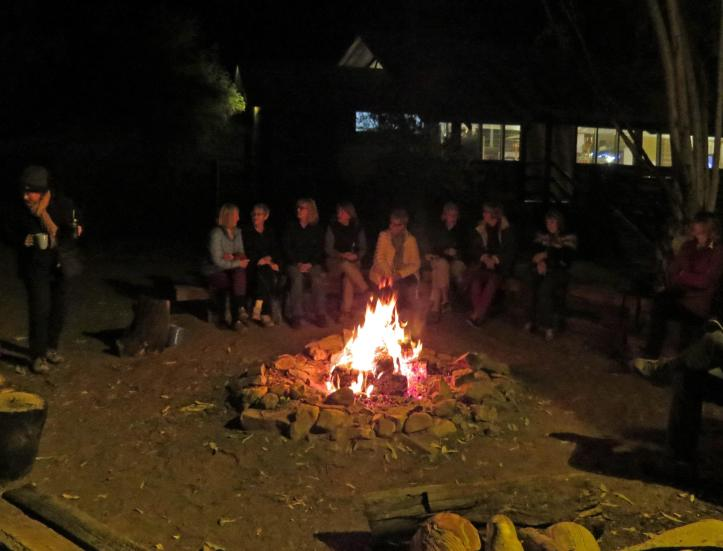 After dinner we went out, rugged up, and sat around the camp fire swapping stories.