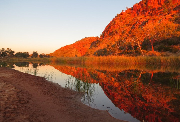 Sunset at Glen Helen gorge with the reflections in the Finke River. Gorgeous.