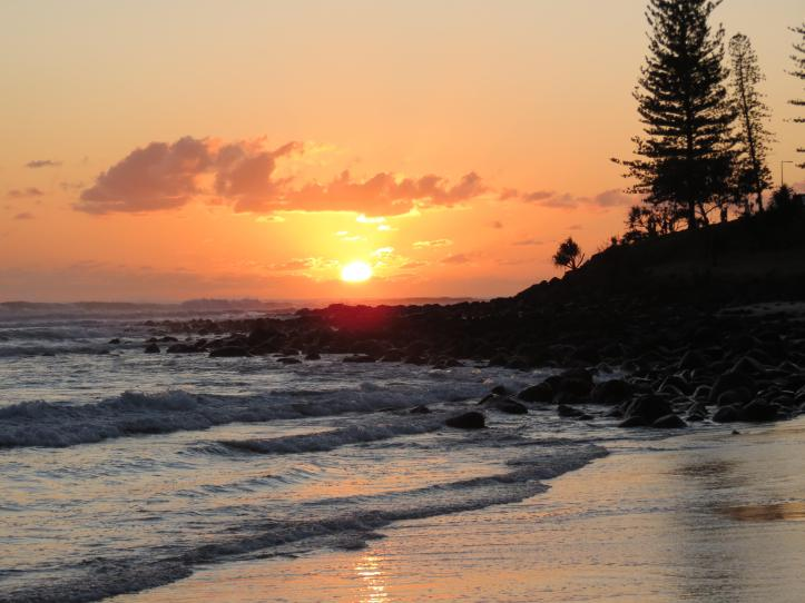 Sunrise at Burleigh Beach, and the start of a new day