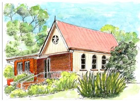 Montville church pen and wash